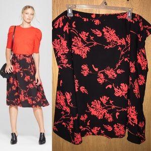 ⬇️Black&red floral fit& flare skirt